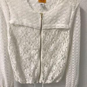 White sheer lace zipper jacket
